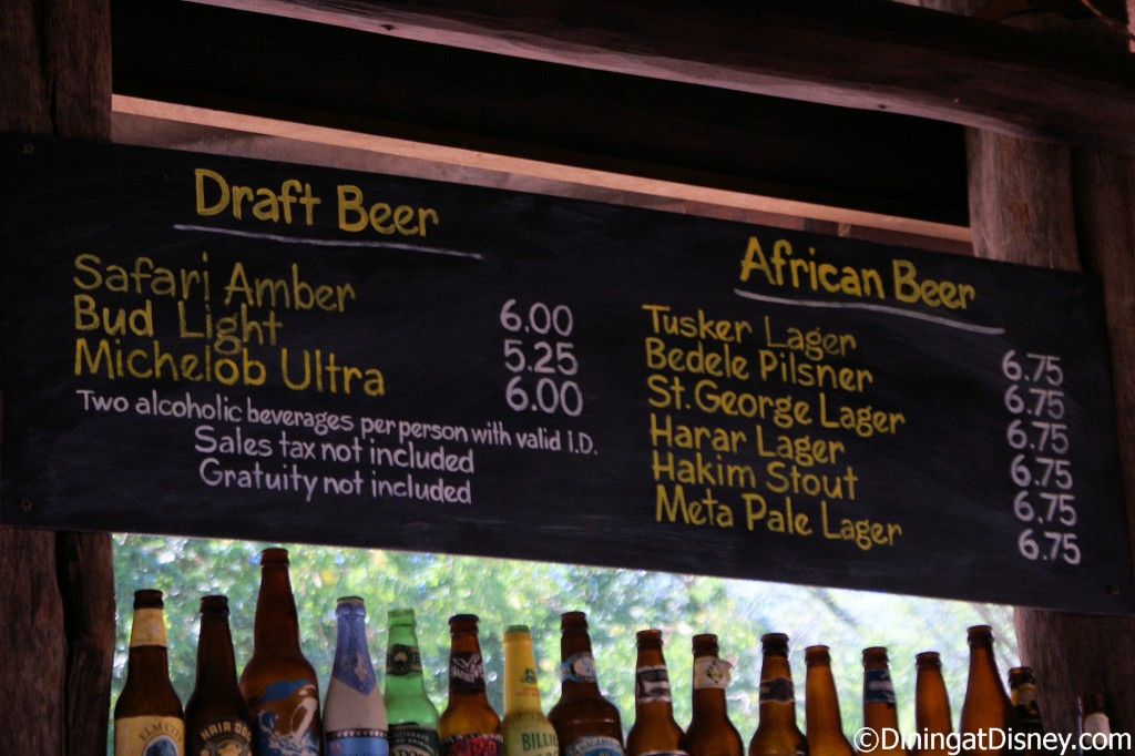 Dawa Bar's beer menu
