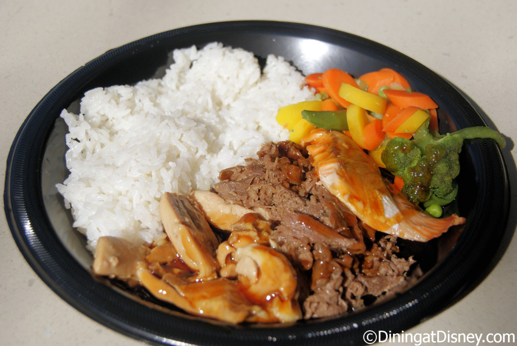 Shogun Combo with Teriyaki beef and chicken served with rice and veggies at Katsura Grill in Epcot