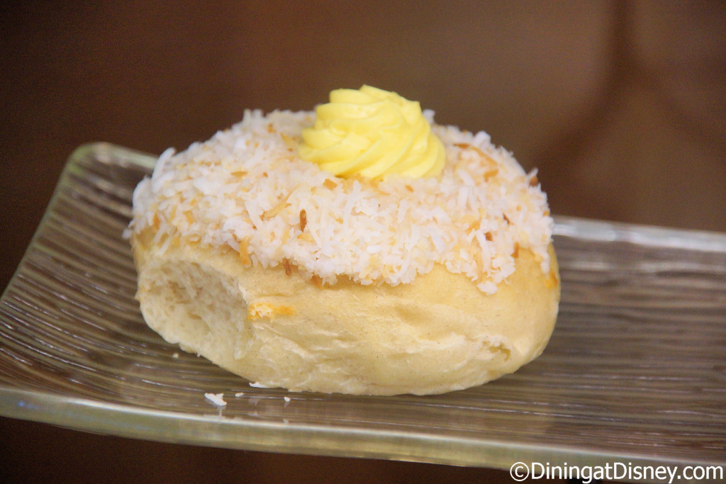 School Bread, bun filled with vanilla creme custard topped with toasted coconut at Kringla Bakeri Og Kafe in Norway Pavilion at Epcot