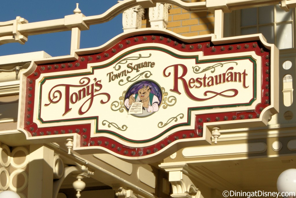 Tony's Town Square Restaurant is located at the entrance to Magic Kingdom
