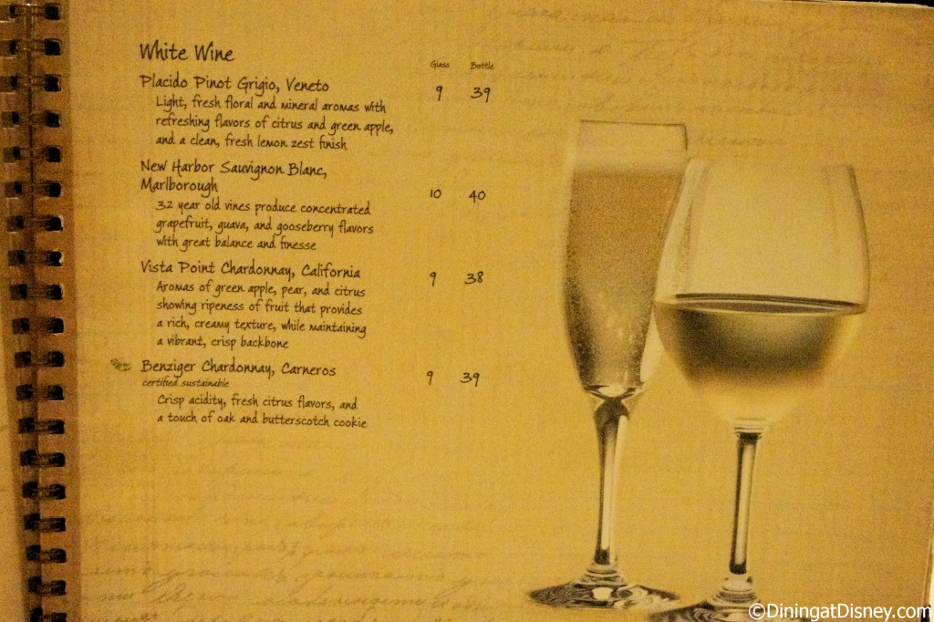 Disney drink menu - white wines