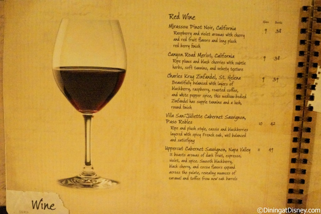 Disney drink menu - red wines
