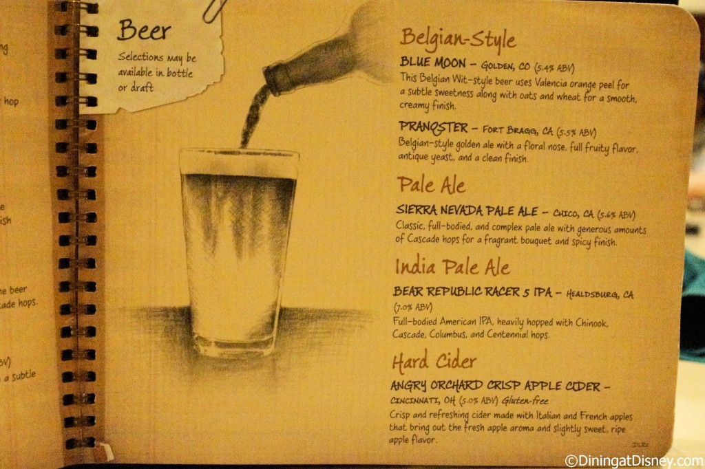 Disney drink menu - beers