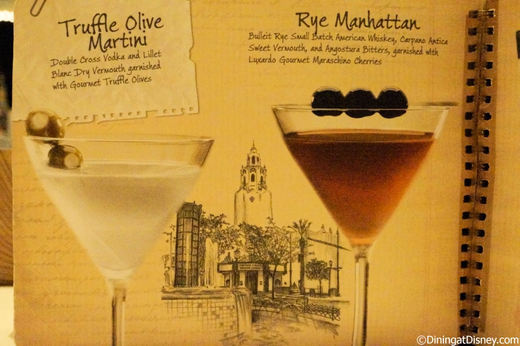 Disney drink menu - martini and manhattan