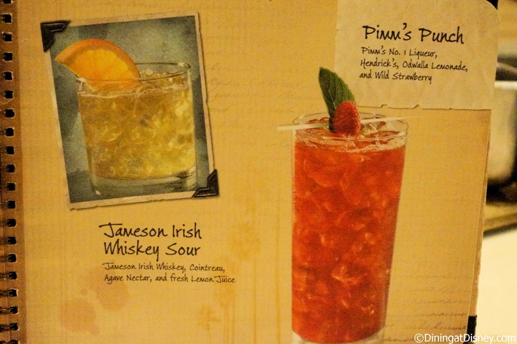 Disney drink menu - whiskey sour and pimm's punch