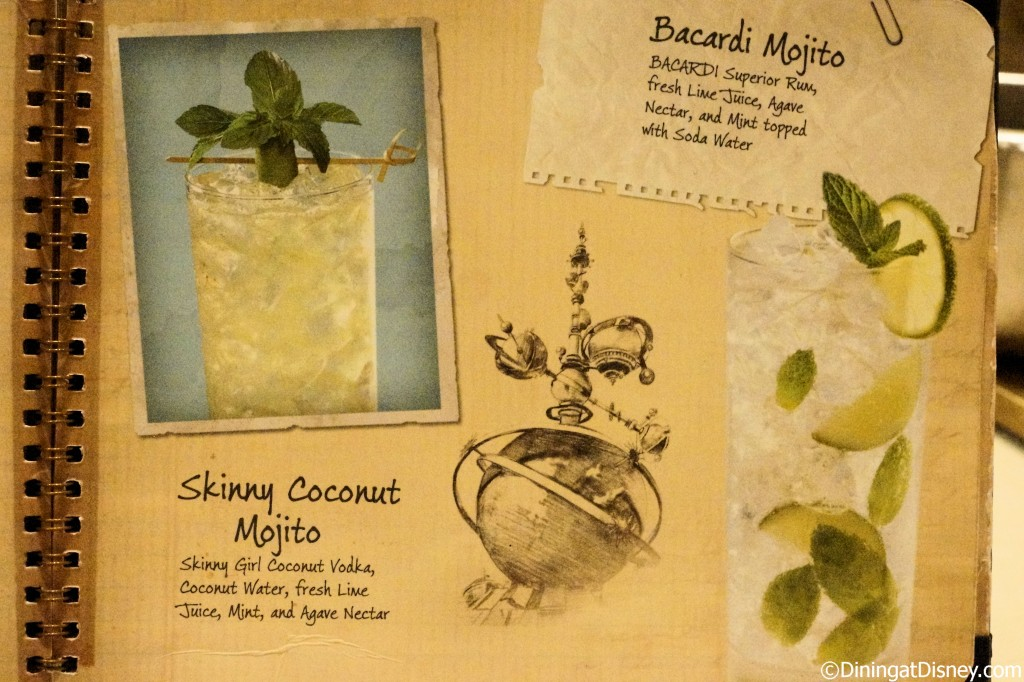 Disney drink menu - skinny coconut mojito and bacardi mojito