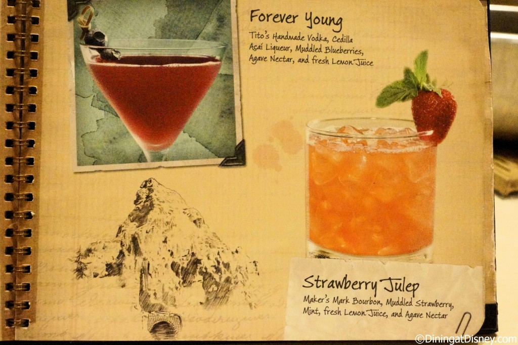 Disney drink menu - forever young and strawberry julep