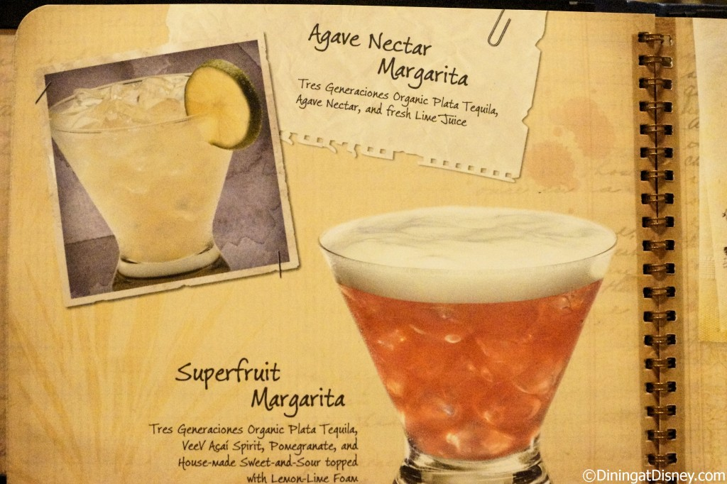 Disney drink menu - agave nectar margarita and superfruit margarita