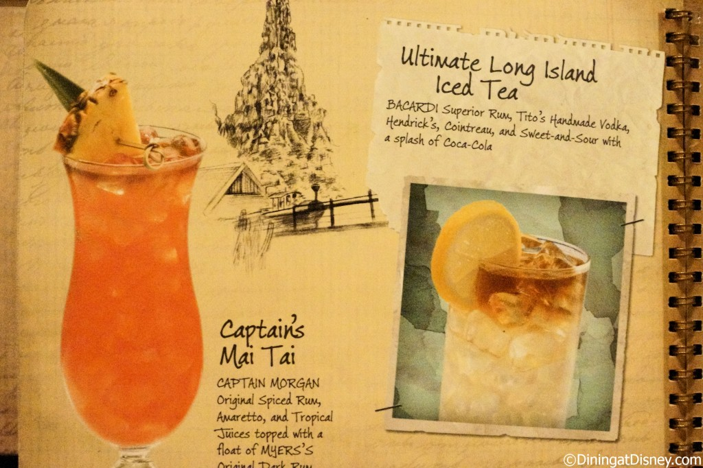 Disney drink menu - Captain's mai tai and ultimate long island iced tea