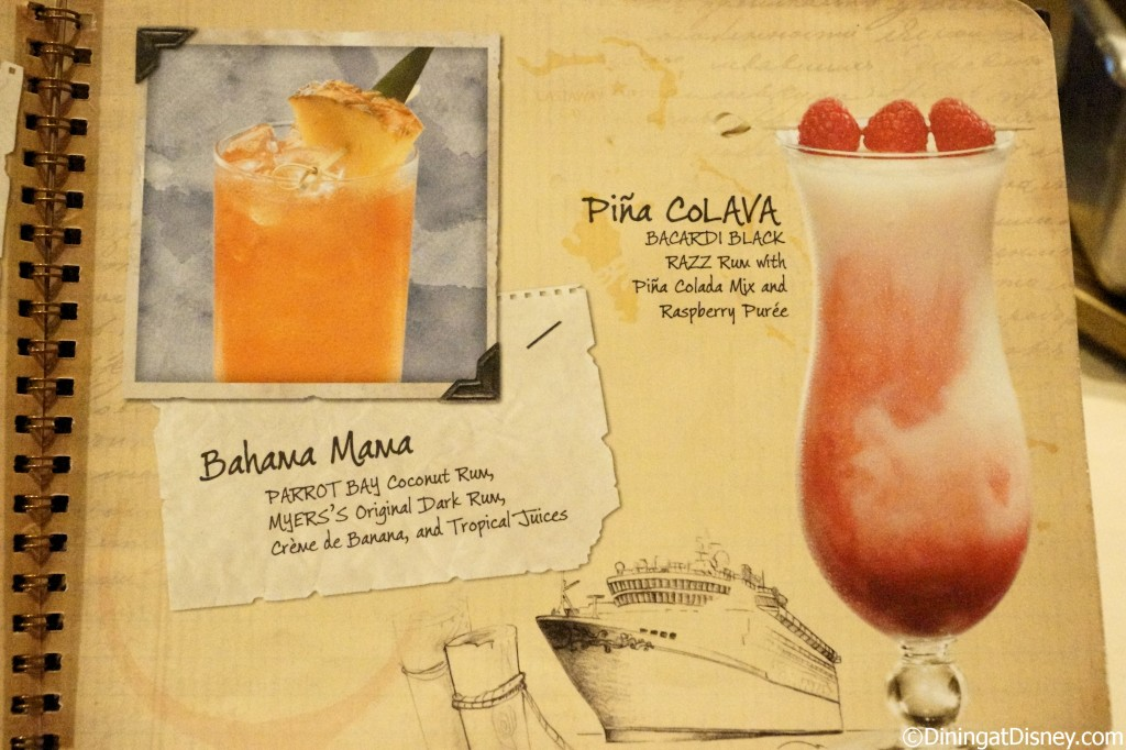 Disney drink menu - Bahama mama and pina colava