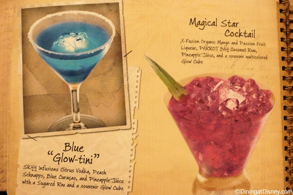 Disney drink menu - blue glow-tini and magical star cocktail