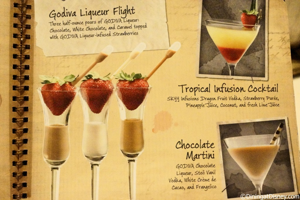 Disney drink menu - Godiva liqueur flight, tropical infusion cocktail and chocolate martini