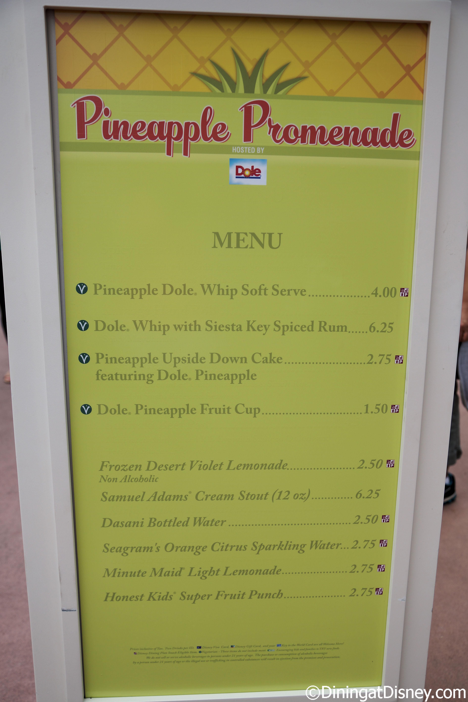 Pineapple Promenade menu