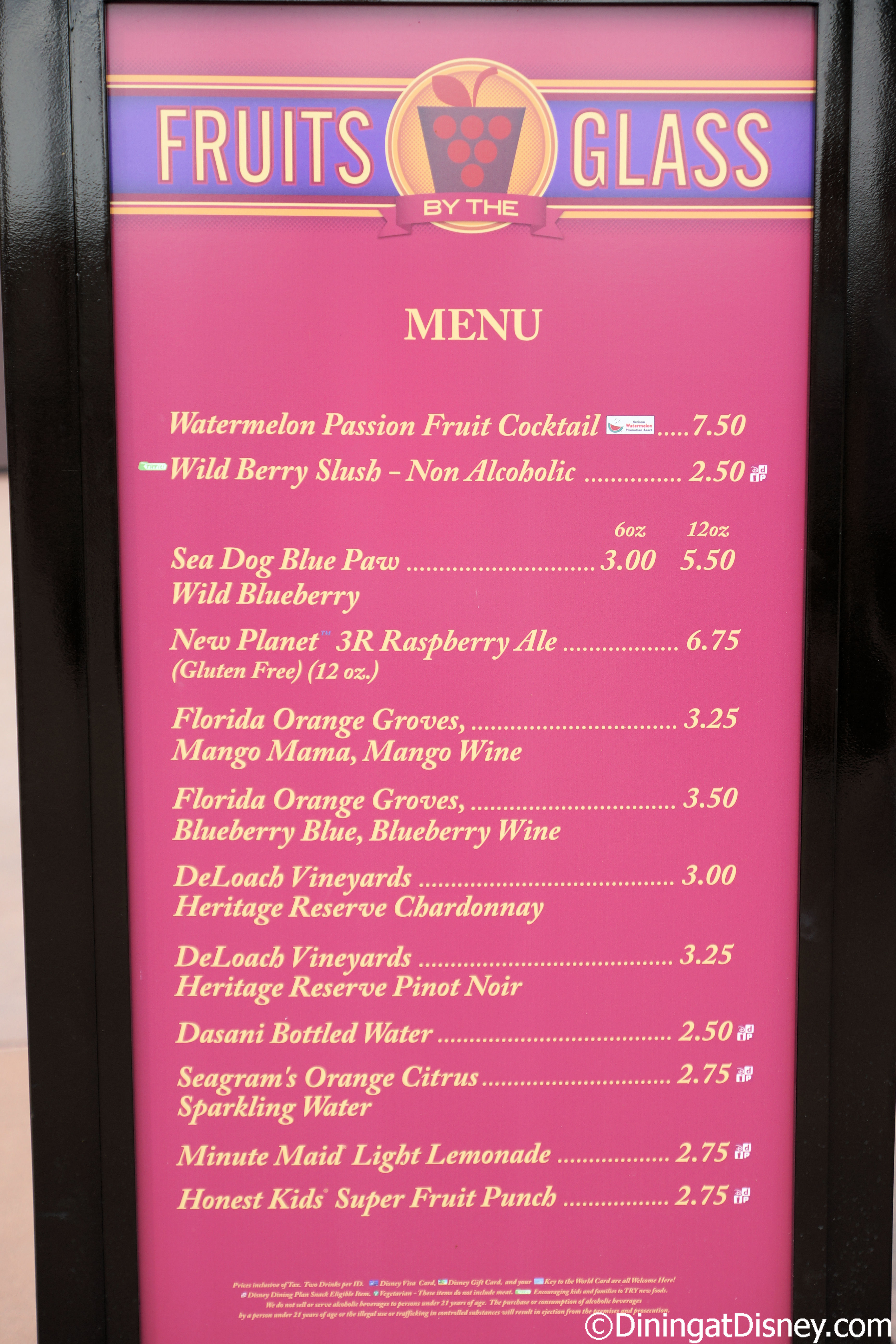 Fruits by the Glass menu