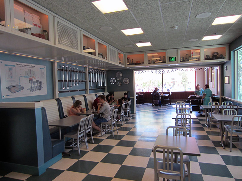 Inside is reminiscent of a 50s style diner with a checkered floor and all