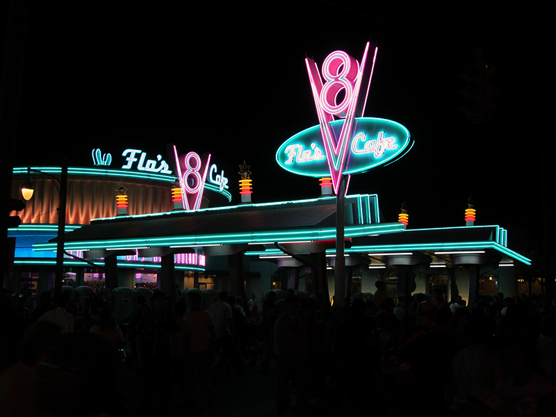 Outside of Flo's at night showcases the wonderful neon lighting.