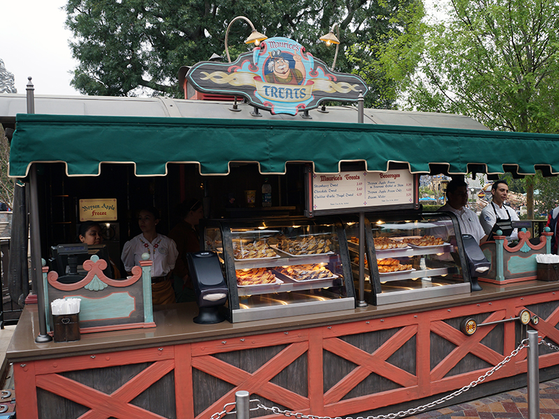 "Maurice's Treats food ""wagon"" inside the Fantasy Faire area of Fantasyland"