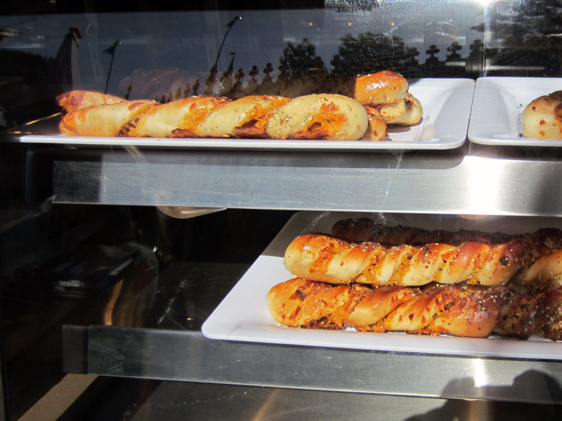Cheddar Garlic Bagel Twists on Display
