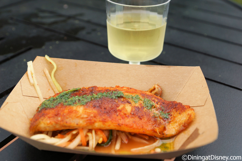 Ghost Pepper-dusted Tilapia and The Vegan Vine Chardonnay at Urban Farm Eats - Epcot Flower and Garden Festival