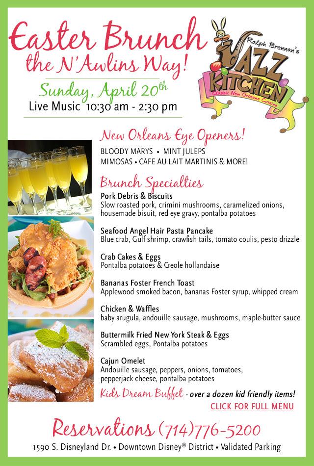 Enjoy easter brunch at ralph brennan 39 s jazz kitchen for Easter brunch restaurant menus