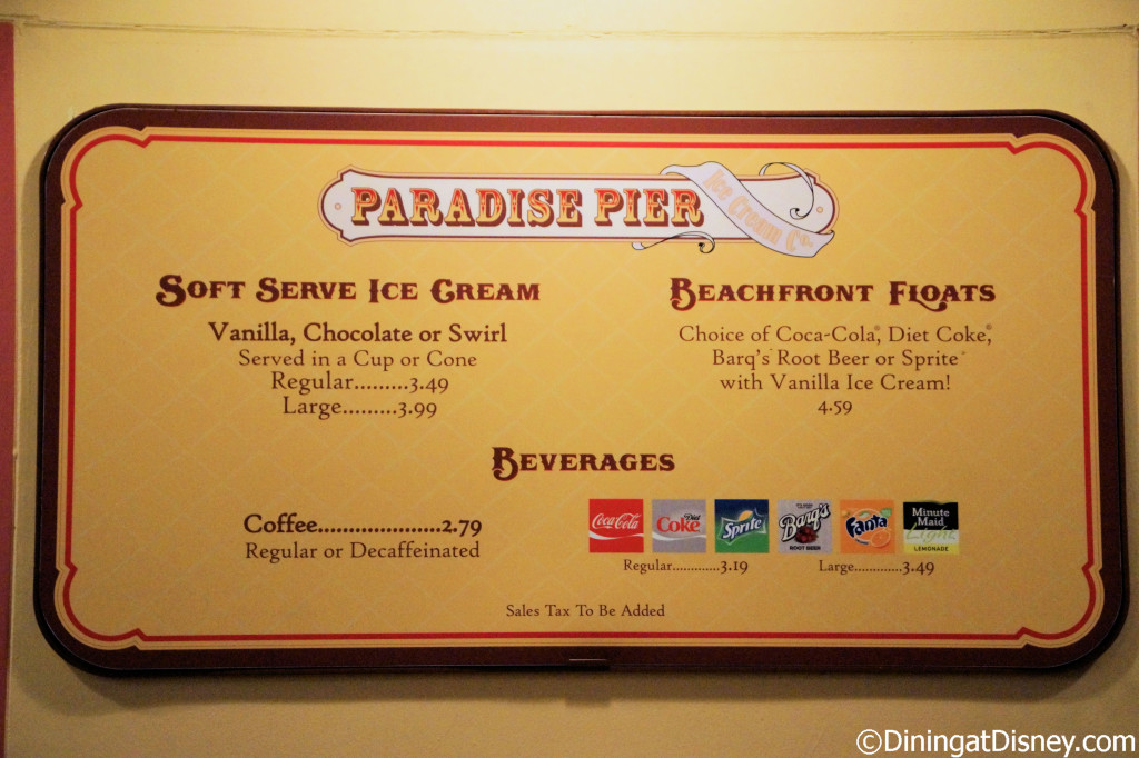 Paradise Pier Ice Cream Company menu