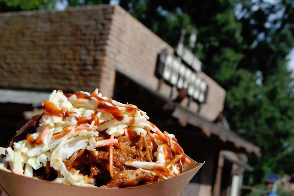 BBQ pork waffle fries - Golden Oak Outpost