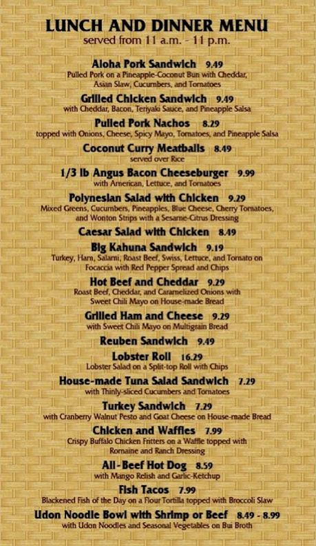Capt. Cook's lunch and dinner menu