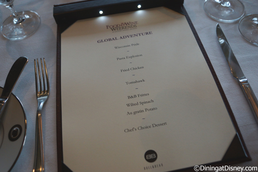Global Venture preview dinner menu at Bull and Bear in Waldorf Astoria Orlando