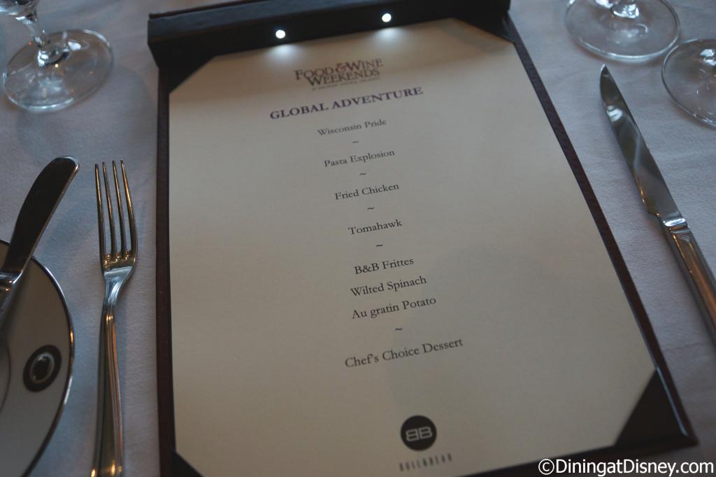 Global Venture preview dinner menu at Bull and Bear in Waldorf Astoria Orlando
