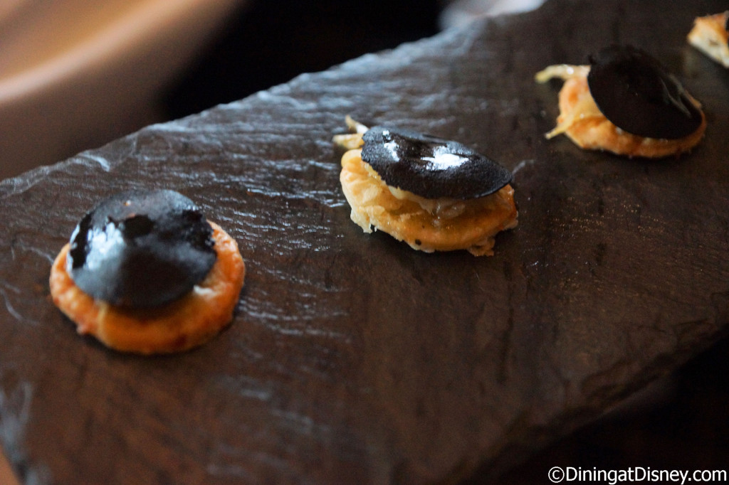 Mushroom Sausage, Fennel Confit on a Parmesan Cheese Cracker - Global Venture dinner