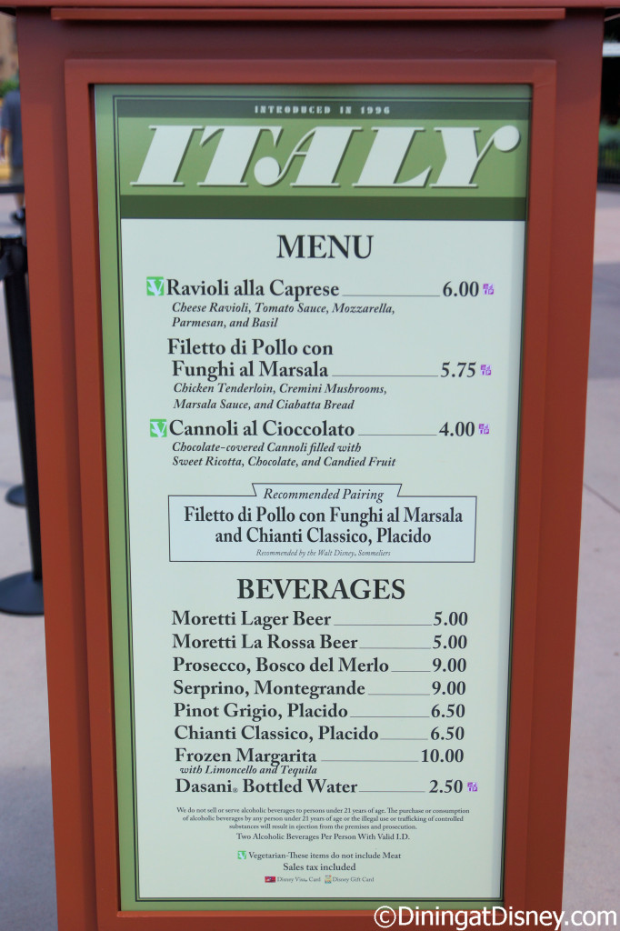 Italy booth menu - 2014 Epcot Food and Wine Festival
