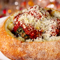 Beef and spinach meatball in a sourdough bread bowl - Trattoria al Forno