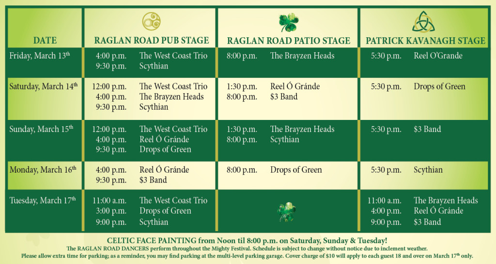 Raglan Road St. Patty's Day events 2015