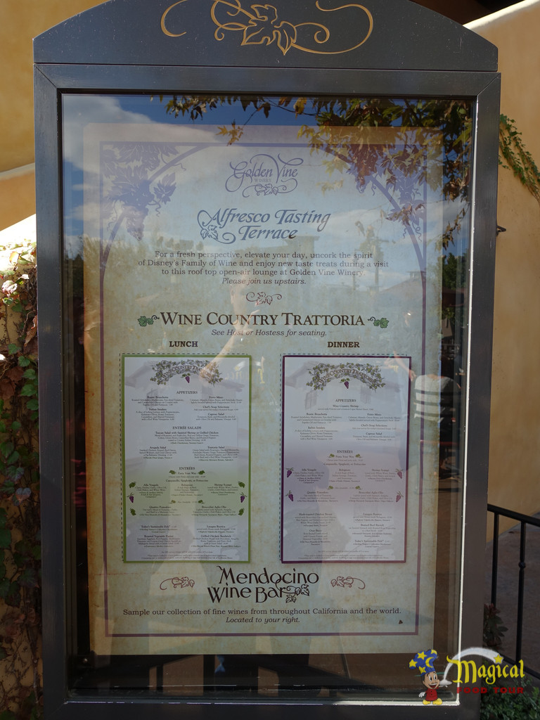 Wine Country Tratorria Menu Outside