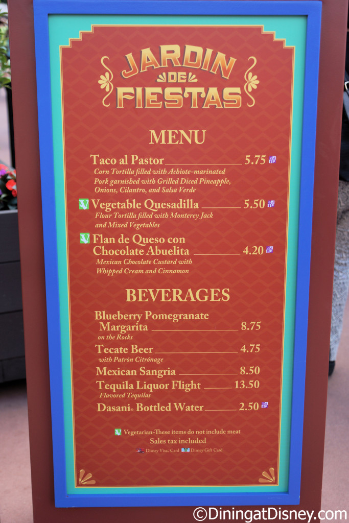 Jardin de Fiesta menu at the 2015 Epcot  Flower and Garden Festival