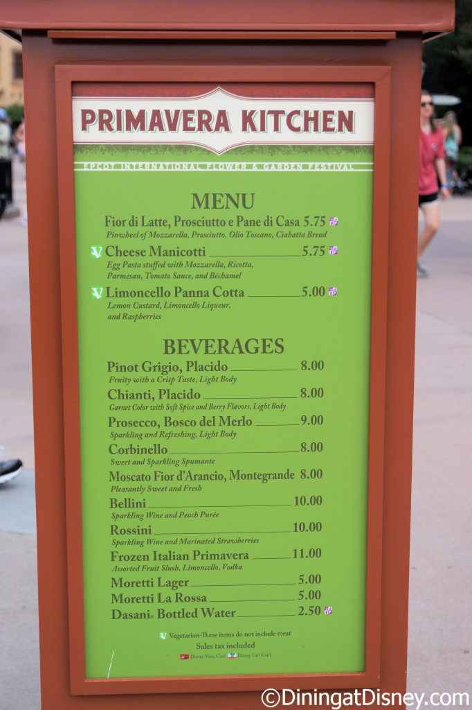 Primavera Kitchen menu  at the 2015 Epcot  Flower and Garden Festival