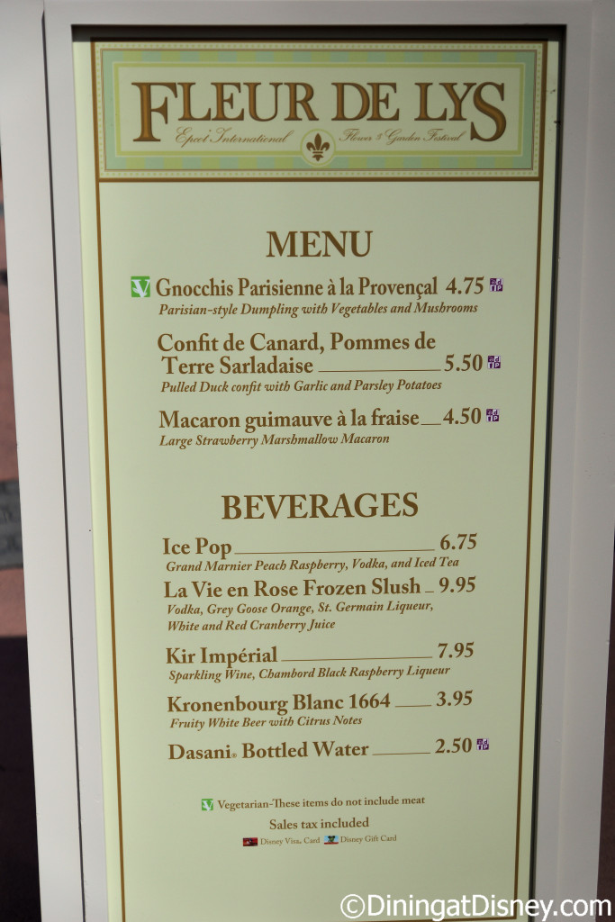 Fleur de Lys menu at the 2015 Epcot  Flower and Garden Festival