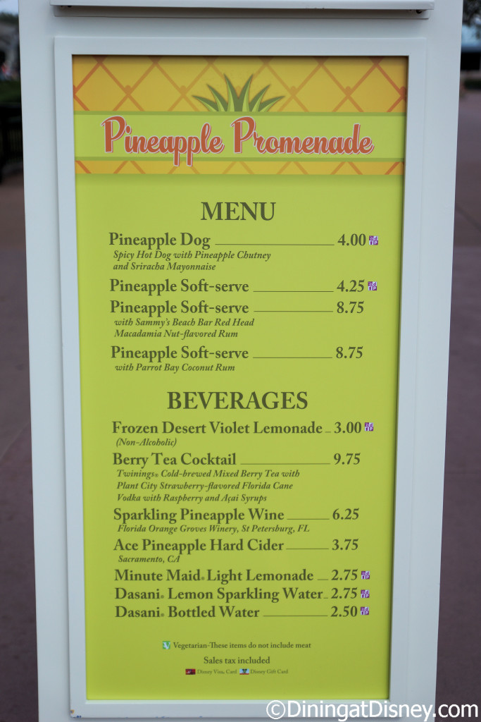 The Pineapple Promenade menu at the 2015 Epcot  Flower and Garden Festival