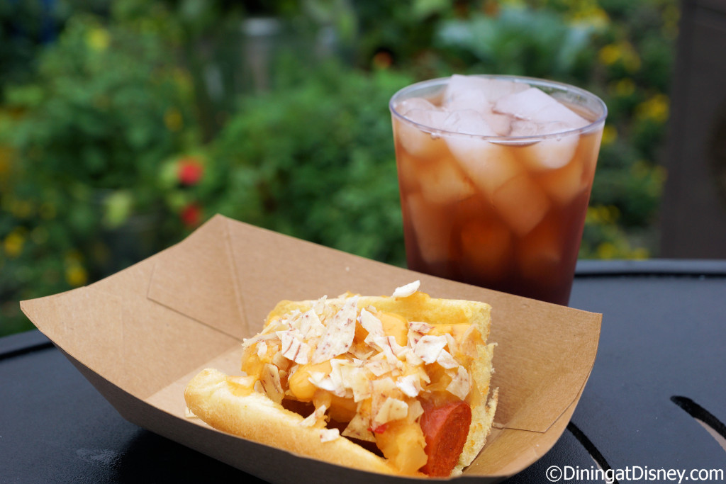 Pineapple hot dog and Berry Tea cocktail from Pineapple Promenade at the 2015 Epcot Flower and Garden Festival Outdoor Kitchens