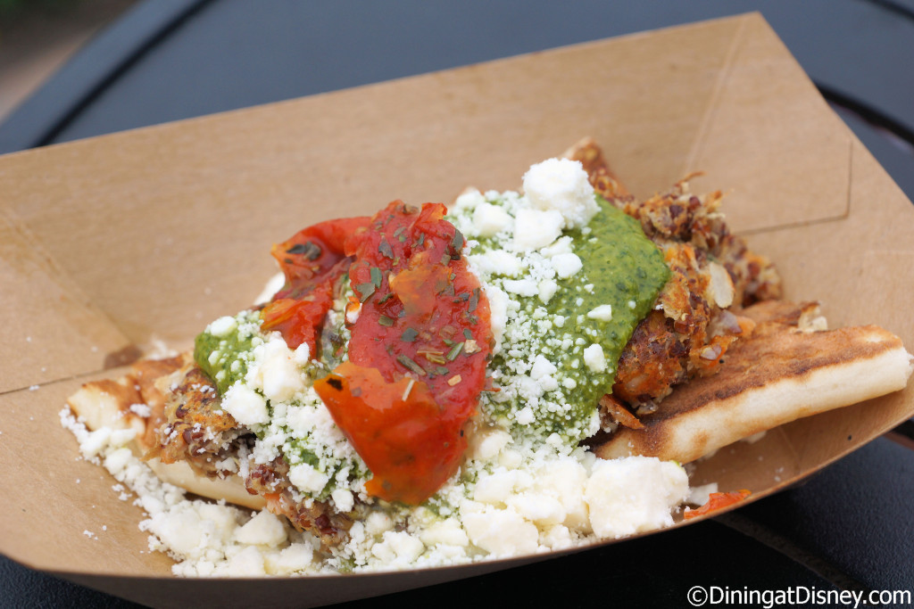 """Quinoa vegetable """"naanwich"""" with arugula pesto and oven dried tomatoes from Urban Farm Eats at the 2015 Epcot  Flower and Garden Festival"""