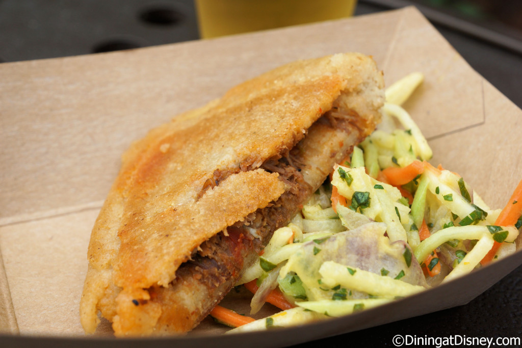 White Corn Arepa with braised beef and Chayote slaw from Botanas Botánico at the 2015 Epcot  Flower and Garden Festival