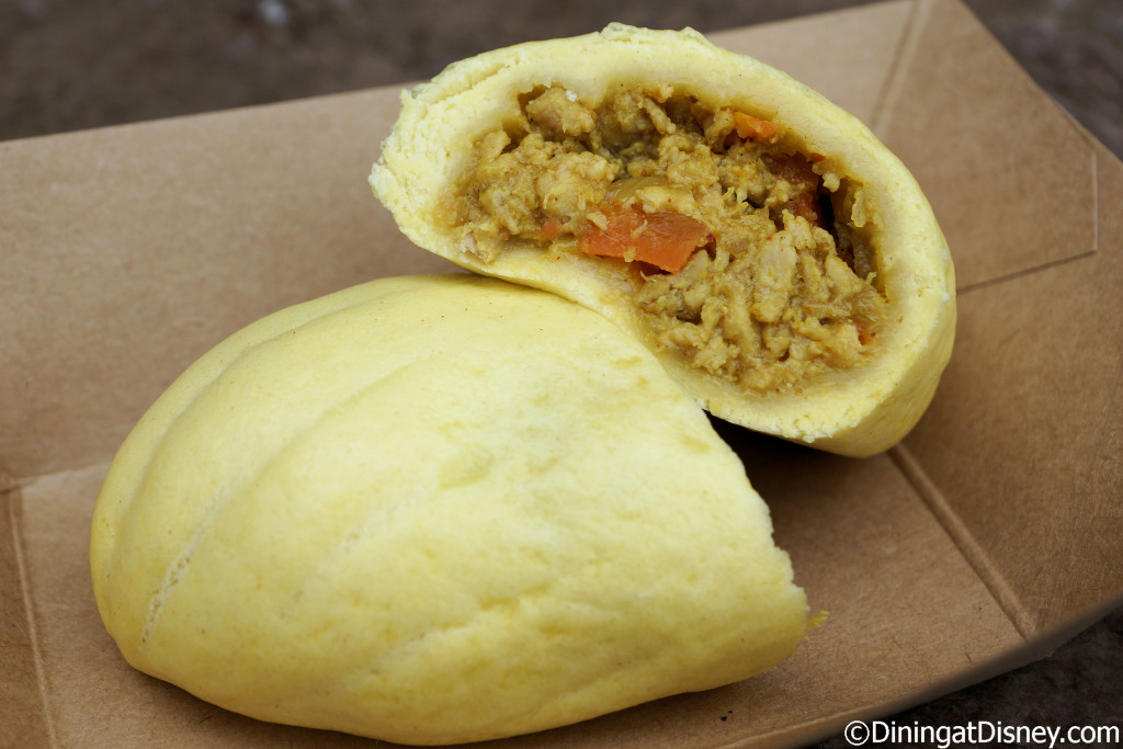 Teriyaki Curry Bun – Steamed bun filled with chicken, vegetables, curry and sweet sauce from Hanami at the 2015 Epcot  Flower and Garden Festival