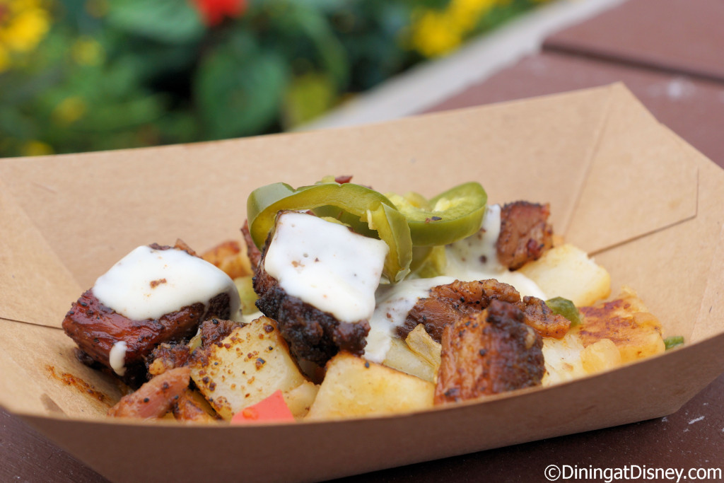 Beef Brisket Burnt Ends Hash with white cheddar fondue and pickled ...