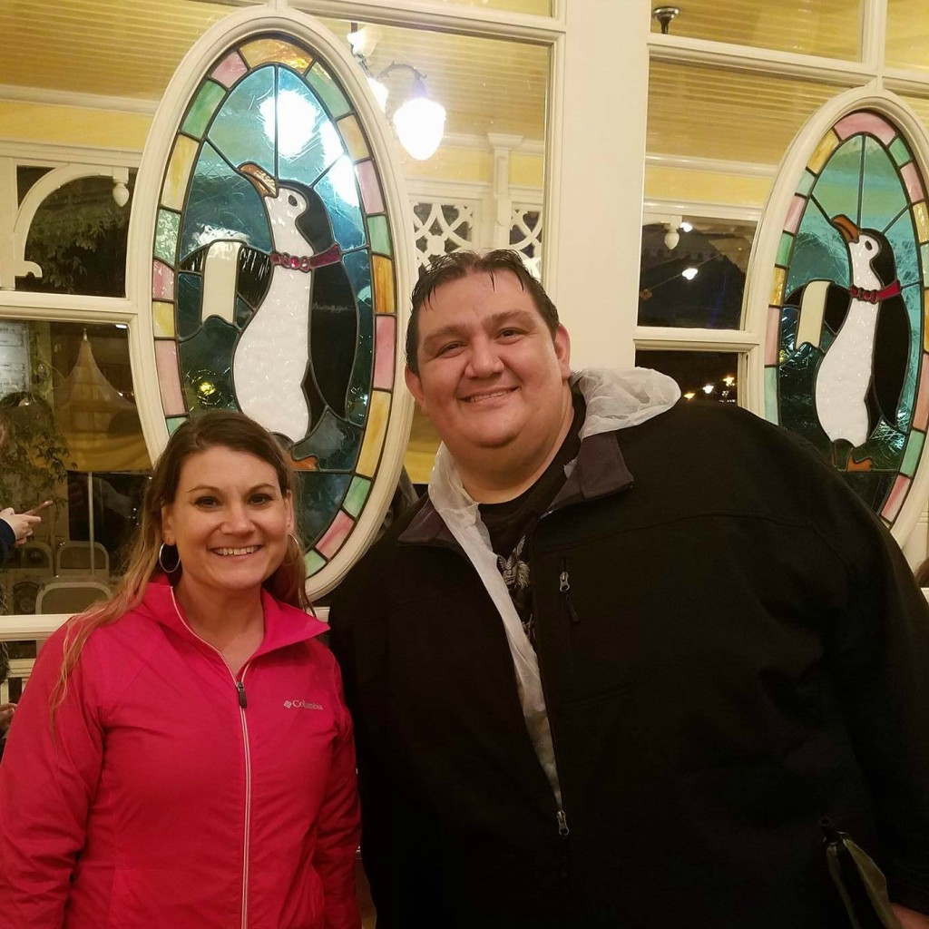 Kristen and Bubba at Disneyland in Jolly Holiday Bakery Cafe on Jan. 22, 2017. Park closed early due to heavy rain.