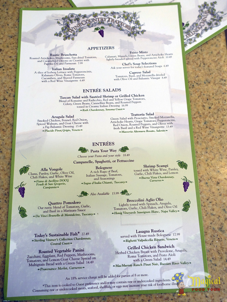 Wine Country Tratorria Menu