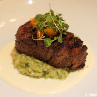 Le Cellier Filet Mignon served with risotto at Le Cellier Steakhouse in Canada Pavilion in Epcot