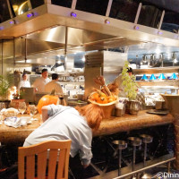 The open kitchen at Flying Fish Cafe at Disney's BoardWalk Inn and Villas