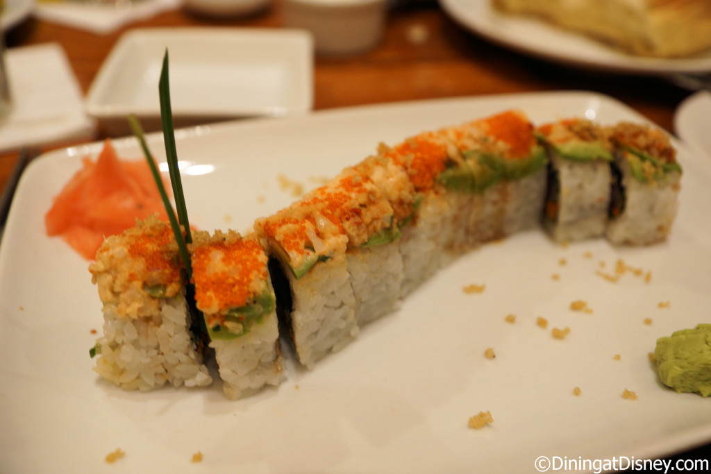 Caterpillar Roll (Inside out Tuna Roll, Shrimp Salad Tempura Crunch topped with a layer of Avocado) at Kona Cafe in Disney's Polynesian Village Resort