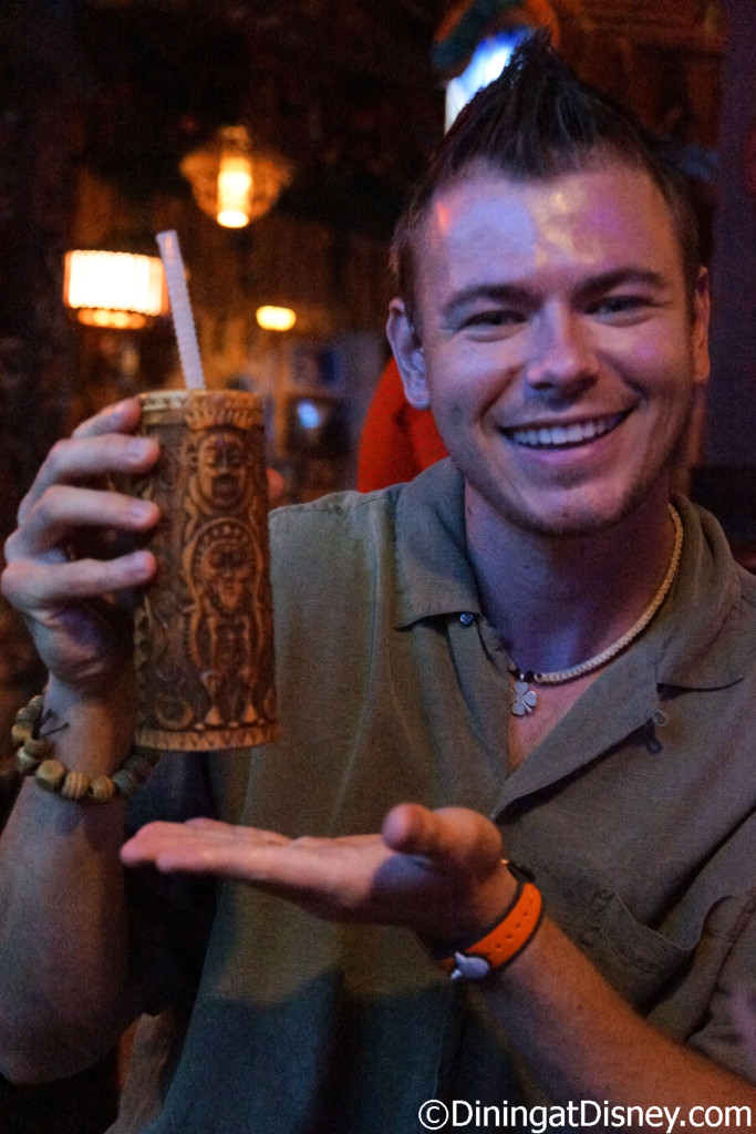 Ryan enjoying his non-alcoholic Polynesian Punch – Sam's Gorilla Grog and Hibiscus Grenadine., served in a Souvenir Sipper at Trader Sam's Grog Grotto