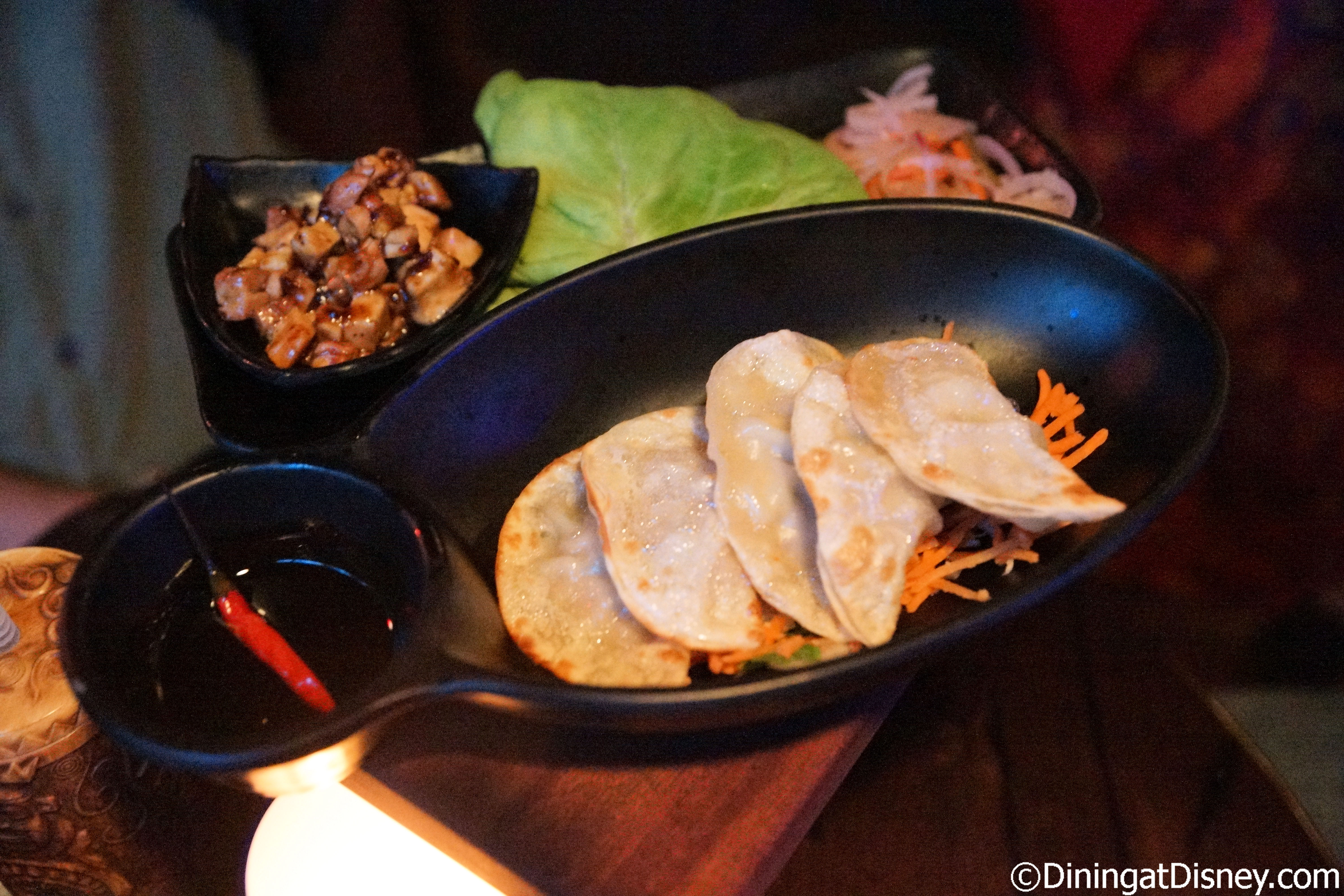 Pan-Fried Dumplings with Soy-Sesame Dipping Sauce at Trader Sam's Grog ...
